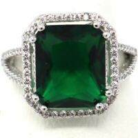 Gorgeous 8 Ct Princess Green Emerald Halo Ring Engagement Wedding Size 6.5 18K