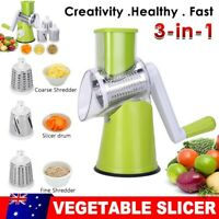 Kitchen Food Vegetable Mandolin Slicer Grater Manual Rotary Drum Onion Choppers