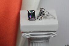 Emerald Cut Nickel Free 925 Silver Mystic Fire Topaz Stud Earrings-1.74Ct/Each