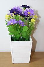 Artificial Flower Arrangement 2 x Mini Realistic Purple Flowers in Pot 18cm High