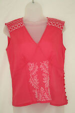 KALIKO 'SOFTWEAR' (UK10 / EU38) CERISE COTTON TOP WITH WHITE EMBROIDERY