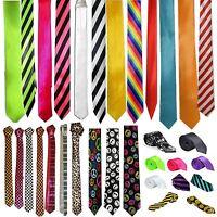 Kids Boys Slim Skinny Color Plain Stripe Satin Tie School Party wedding Necktie