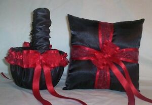 BLACK SATIN / RED TRIM FLOWER GIRL BASKET & RING BEARER PILLOW # 2