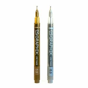 Fine Line Pens - Graphite Grey & Sepia (packs of 5)