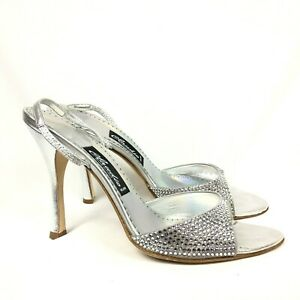 Claudio Milano Leather Shoes Silver Crystal Size 41 Italy (US 10.5) #368