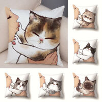 Funny Love Kiss Cute Cat Cartoon Pattern Pillow Case Cushion Cover Home Decor