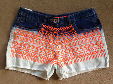 BNWT NEXT Girls Blue Dip Dye Orange Embroidered Denim Shorts 16 Years