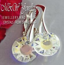 925 SILVER EARRINGS CRYSTALS FROM SWAROVSKI® 12MM SUN CRYSTAL AB PARTLY FROSTED