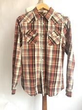 Franklin Marshall Western Checked Shirt Long Sleeve Red Brown S/M Chest 38 inch