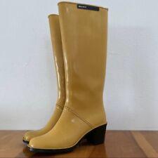 Marc Jacobs Mustard Yellow Knee High Rain Boots w/ heel in Women's size 6.5 EUC