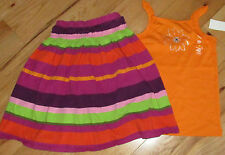 Gymboree Wild For Zebra rhinestone flower top & striped knit skirt 1 NWT 8 10