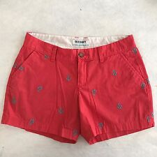 Old Navy Womens 2 Coral Red Anchors Flat Front Shorts Mid Rise Nautical K08