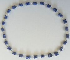 """BLUE STONE BEAD NECKLACE 26"""" VALENTINE'S DAY GIFT"""