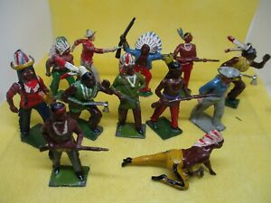 VINTAGE HOLLOW CAST METAL COWBOYS AND INDIANS