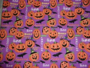1 YARD Happy Halloween Pumpkins Time Purple Sewing Crafts Quilting Cotton Fabric