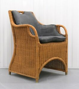 LOVELY RALPH LAUREN JAMAICA WICKER DINING CHAIR ON GREY SEAT VERY COMFORTABLE