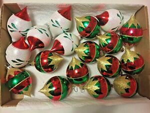 Vintage Blown Glass Glittery Decorated Christmas Ball Tears Ornaments lot of 18