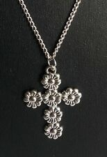 "CROSS SILVER TONE FLOWER CROSS PENDANT 18"" CHAIN  WITH EXTENDER CHAIN NEW"