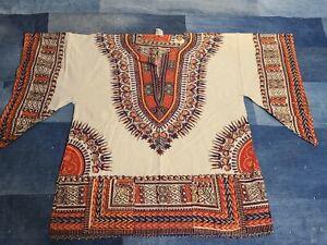 NOS Vintage 1960s 70s Hippie African Dashiki Ethnic pullover nature shirt L