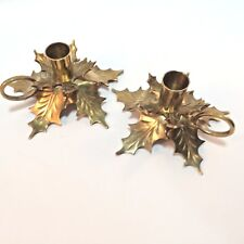 Brass Candle Holders Pair Leaf Nature Holly Leaves Holiday Taper w/ Handles VTG
