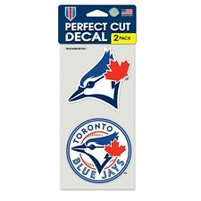"""TORONTO BLUE JAYS 4""""X4"""" DIE CUT DECAL 2-PACK CAR HOME BRAND NEW WINCRAFT"""