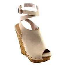 Platform Peep Toe Ankle Strap Wedges Heel