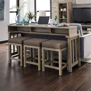 Sun Valley Sandstone 4-piece Rubberwood Console Bar Table Set   placing behind a