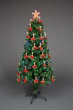 6ft LED Lights Fibre Optic Christmas Tree Pre Lit Holy Candle & Bow Decorations