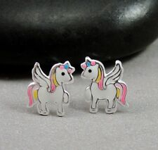 Little Pony Post Earrings - 925 Sterling Silver - Girls Pink Pony Unicorn Studs
