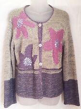 Sigrid Olsen Size PM Hand Knit Cardigan Sweater Purple Pink Flowers On Gray