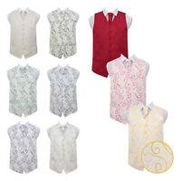 "DQT Premium Scroll Patterned Vest Wedding Men's Waistcoat & Cravat Set 36""-50"""