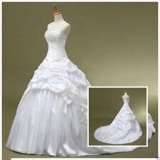 New White/Ivory Wedding Bridal Dress Long Beaded Lace Size 2-16 in stock Custom
