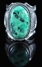 Pixie Turquoise Ring By Andy Cadman Navajo Sterling Silver Natural Nevada Green