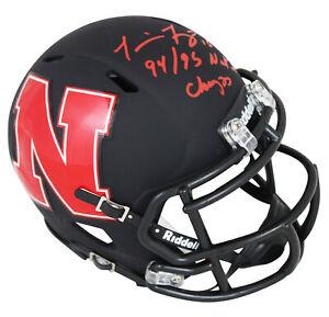 "Nebraska Tommie Frazier ""Natl Champs"" Signed AMP Speed Mini Helmet Red Sig BAS"