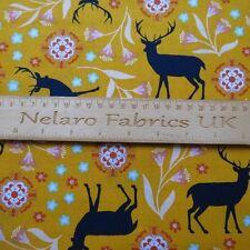 FQ Urban wilderness deer flowers mustard yellow fabric by Robert Kaufman