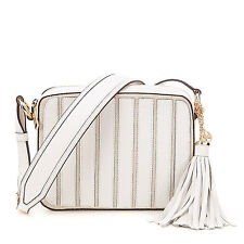 Michael Kors Applique Stripe Canvas Leather Brooklyn Large Camera Crossbody NWT