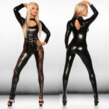 Completo Tuta Mistress Simil Latex Clubwear Pizzo Laterale Velato Dominatrice