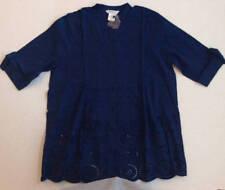 ULLA POPKEN XL 12W/14W Indigo Blue Lace Cut Out Blouse Shirt Pintucked