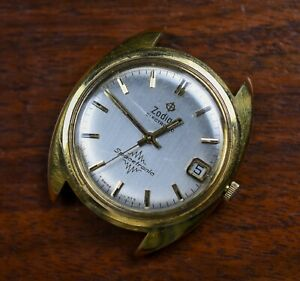 Vintage ZODIAC Spacetronic Gold Plated Display Back Men's Watch