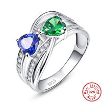 Heart Cut AAA Emerald & Tanzanite 100% 925 Sterling Silver Ring Size L½ N½ P½ R½