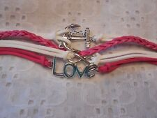 "New  Multi Strand / Charm Bracelet in Pink, White & Silver Tone  Anchor ""Love"""