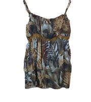 UNBRANDED TANK TOP SIZE L FLORAL BROWN POLYESTER SLEEVELESS ROUND NECK #12A