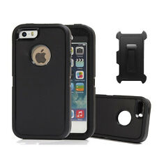 iPhone SE/5S/5 Heavy Duty Defender Protective Case Series Cover Black w/ Clip