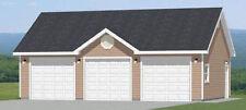 36x24 3-Car Garage -- 864 sq ft -- PDF Floor Plan -- 8/12 roof pitch -- Model 2