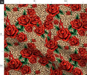 Red Tattoo Roses Leopard Traditional Tattoos Spoonflower Fabric by the Yard