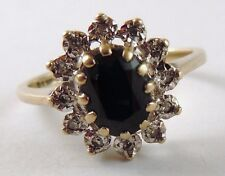 100% Genuine 9ct. Yellow Gold Natural 1.52ct Sapphire & Diamonds Cluster Ring