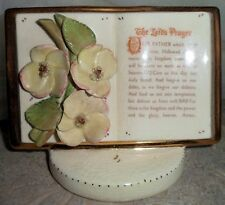 Vintage The Lord's Prayer Planter Figurine Christianity Ceramic Religious Floral