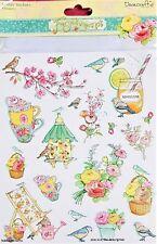 Dovecraft A4 Glitter Sticker - Forget Me Not Blumen & Vögel - Gartenblumen