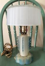 "Art Deco Satin Glass Boudoir Table Lamp with Satin Glass Shade 13 1/2"" Tall"