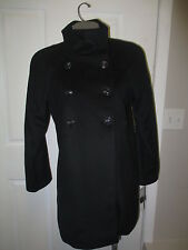 DKNY Double Breasted Stand Collar Wool Coat 4P Black NWT